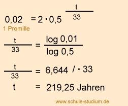 halbwertszeit berechnen klasse 9