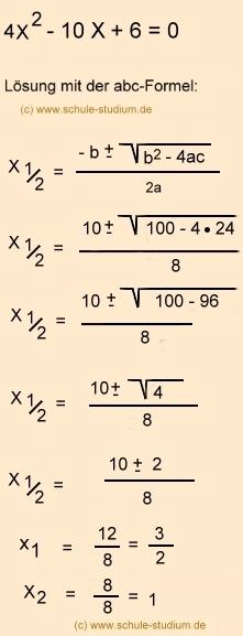 Abc Formelmitternachtsformel Vs Pq Formel Quadratische