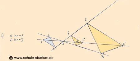 Zentrische Streckung, Vorgehensweise bei Streckfaktor k>0, k<0 und ...